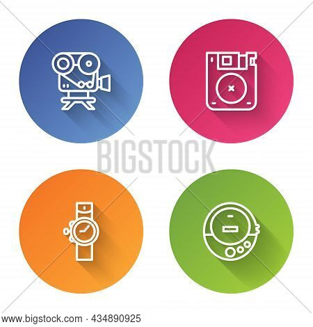 Set Line Retro Cinema Camera, Floppy Disk, Wrist Watch And Music Cd Player. Color Circle Button. Vec