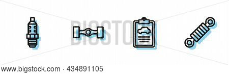 Set Line Car Inspection, Spark Plug, Chassis Car And Shock Absorber Icon. Vector