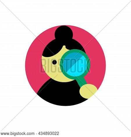 Girl With Magnifying Glass Color Icon. Search Files Or Other Content Concept. Trendy Flat Isolated O