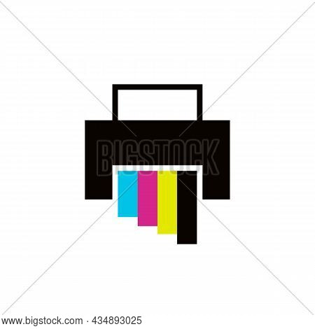 Printer With Paper Sheet Glyph Color Icon. Template Print. Trendy Flat Isolated Symbol, Sign Used Fo