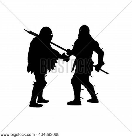 Silhouette Of Fighting Knights Solid Black Line Icon On White. Fight Concept. Trendy Flat Isolated S