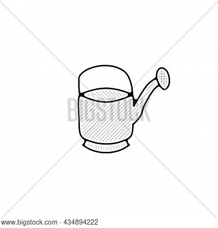 Watering Can Vector Thin Line Icon. Watering Can Hand Drawn Thin Line Icon.