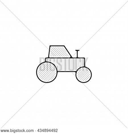 Tractor Vector Thin Line Icon. Tractor Hand Drawn Thin Line Icon.