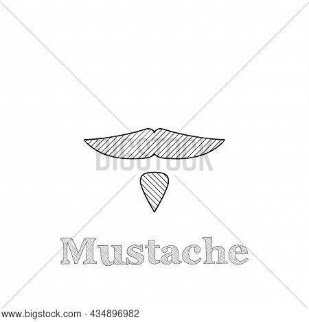 Mustache Vector Thin Line Icon. Mustache Hand Drawn Thin Line Icon.