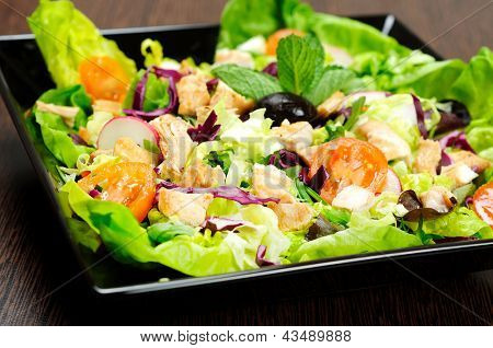 Plate with salad and chicken