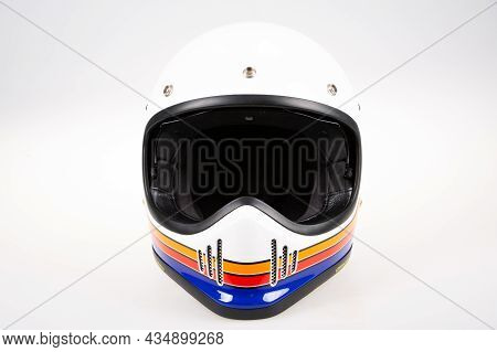 Helmet White Motorcycle Motocross Retro And Vintage Style Cafe Racer