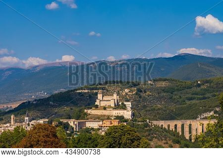 Spoleto castle with aqueduct in Umbria, Italy