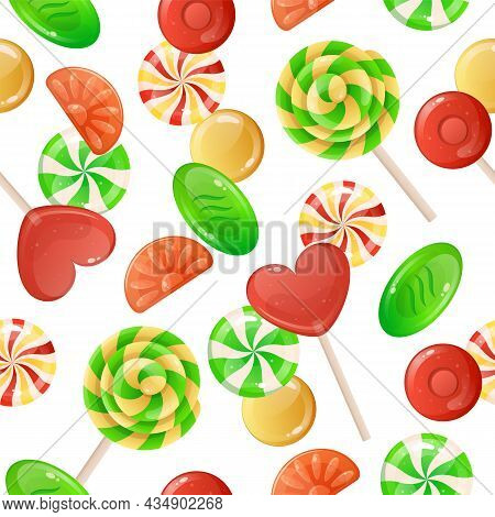 Candies Pattern. Cartoon Seamless Decorative Texture With Caramel Lollipop And Gummy Jelly. Toffee A