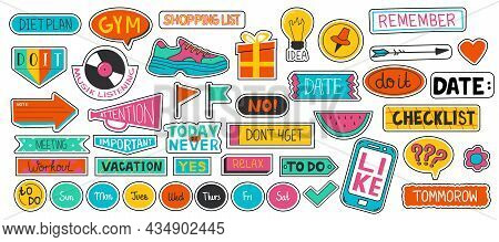 Planner Sticker. Cute Scrapbook And Diary Doodle Labels. Calendar And Agenda Notebook Badges Collect