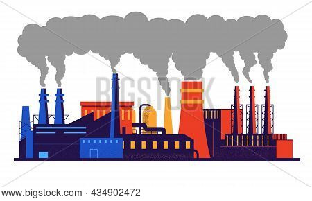 Factory Pollution. Carbon Dioxide And Smoke Emission From Industrial Pipes. Warming And Environmenta