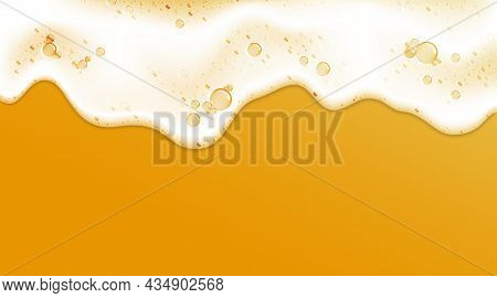 Beer Foam. Realistic 3d Frame With White Clean Shampoo Froth And Soap Bubbles. Detergent Liquid Lath
