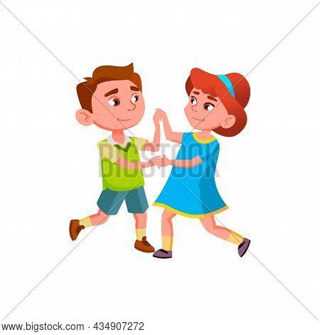 Schoolboy And Schoolgirl Dancing Waltz Vector. Caucasian Boy And Girl Couple Dancing Classical Dance