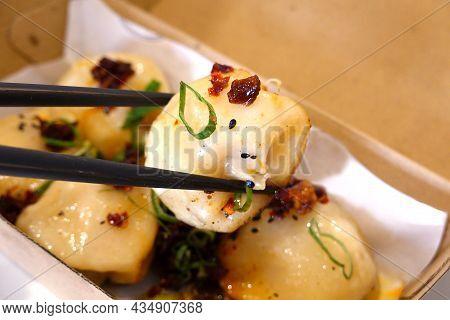 Chinese Takeaway Food, Close Up Fried Dumplings In A Takeaway Box.