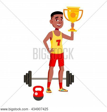 Boy Teenager Athlete Celebrate Victory Vector. African Teen Guy Holding Golden Cup Award Won In Athl