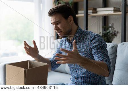 Unhappy Man Frustrated By Wrong Order, Bad Delivery Service