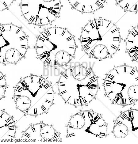 The theme of the passing time. Seamless pattern with vintage pattern of clock dial.
