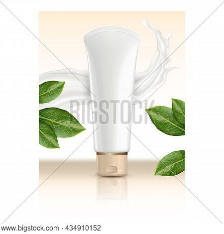 Hand Cream Creative Promotional Banner Vector. Hand Cream Blank Tube Packaging, Creamy Splash And Na