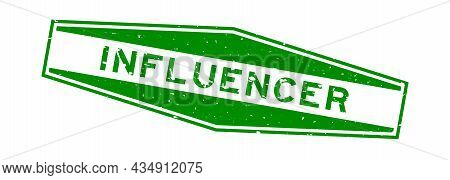 Grunge Green Influencer Word Hexagon Rubber Seal Stamp On White Background