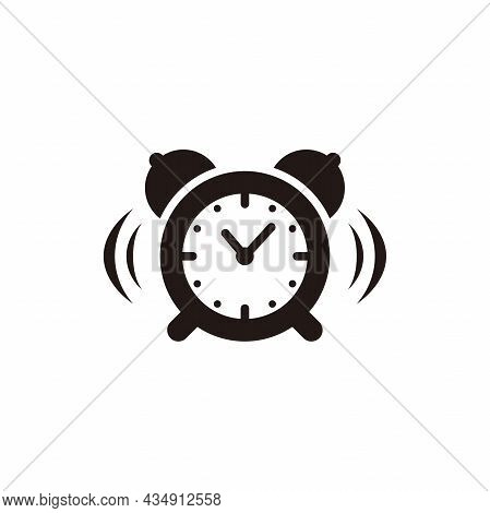Alarm Clock Icon Illustration Design, Ringing Alarm Clock Symbol Template Vector