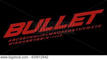 Bullet Font Alphabet Letters. Speed Race Logo Typography. Bold Italic Typographic Design. Dynamic Le