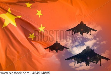 China Air Forces Strike Concept. Fighter Aircrafts On China Flag Background