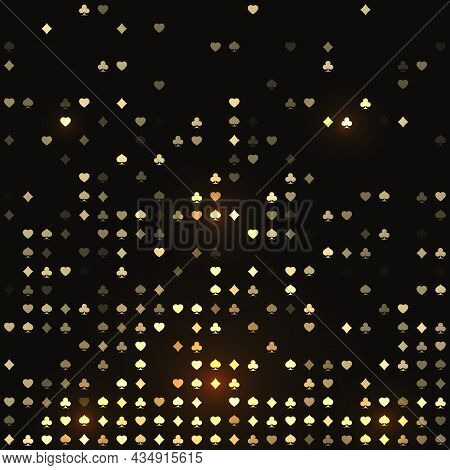 Four Playing Card Symbol Texture For Casino Banner Or Poster. Poker Cards Suit Background With Four