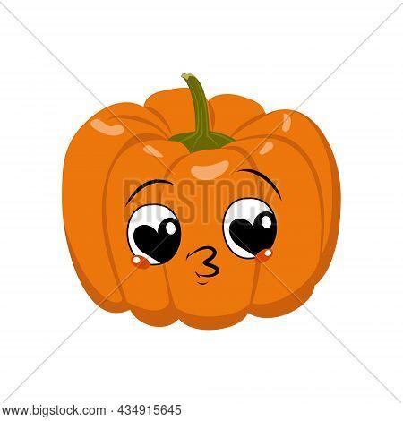 Cute Pumpkin Character With Joy Emotions, Face, Big Hearts Eyes Falls In Love, Kiss Lips. Festive De