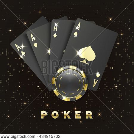 Four Black Poker Cards With Gold Suit And Casino Chip. Quads Or Four Of A Kind By Ace And Gambling C