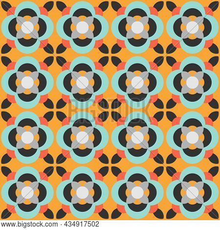 Ceramic Tile Abstract Pattern. Geometric Simple Motif. Mexican Talavera, Portuguese Azulejo Or Spani