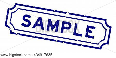 Grunge Blue Sample Word Rubber Business Seal Stamp On White Background