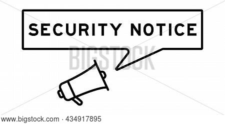 Megaphone Icon With Speech Bubble In Word Security Notice On White Background