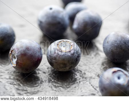 Juicy Ripe Blueberries On A Textured Dark Background. Close-up, Berries, Edaa