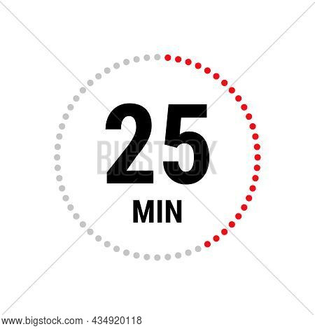 25 Minute Vector Icon, Stopwatch Symbol, Countdown. Isolated Illustration With Timer.