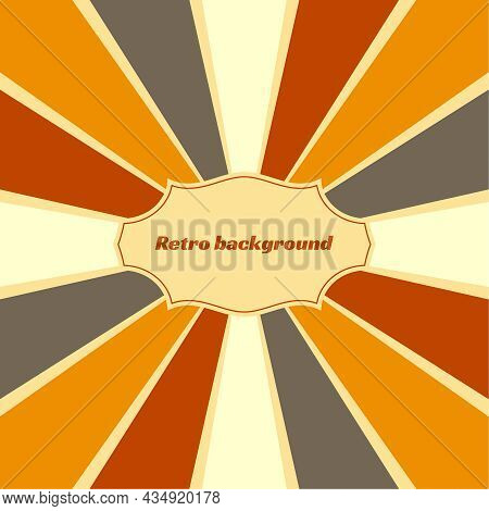 Old Vintage Retro Background With Sunbeams. Vector Illustration With Beige, Orange, Brown, Gray, Yel