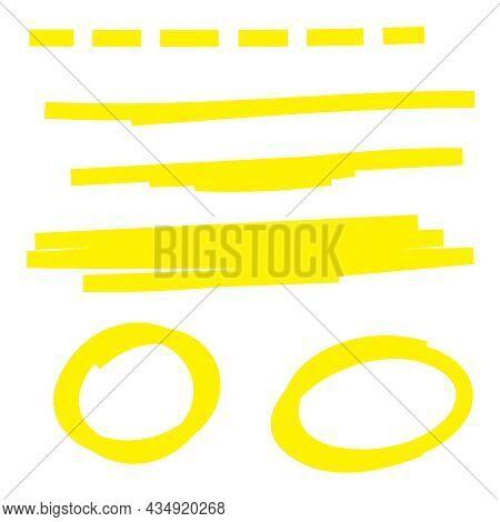 Yellow Highlighter Marker Strokes. Vector Brush Pen Underline Lines.