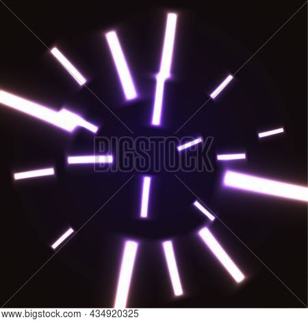 Abstract Vector Background With Chaotic Glowing Neon Lines.