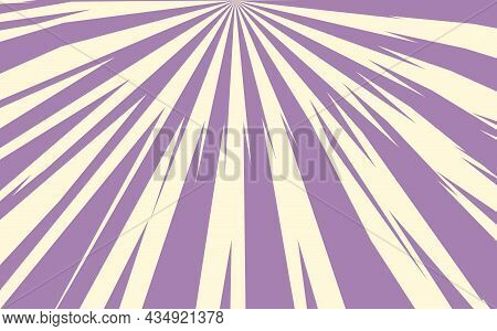Pop Art Radial Colorful Comics Book Magazine Cover. Striped Purple And Blue Digital Background. Cart