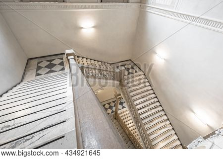 Turin, Italy - Circa May 2021: Luxury Staircase Made Of Marble In An Antique Italian Palace