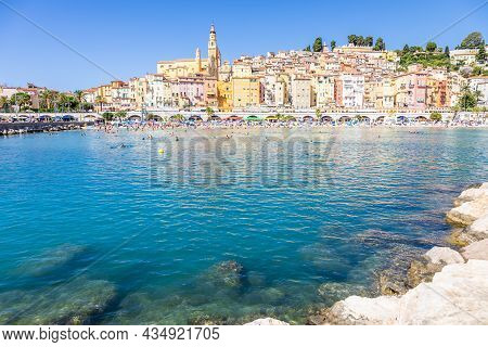 Menton, France - Circa August 2021: View Of The French Riviera, Named The Coast Azur, Located In The