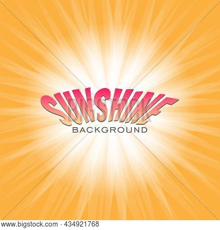 White Light Spread From The Center On Orange Background. Sunburst Rays Explosion Banner In Comics, P