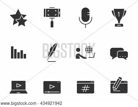 Blog Silhouette Vector Icons Isolated On White. Blogger Black Icon Set For Web, Mobile Apps, Ui Desi