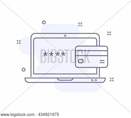 Enter Password Outline Vector Illustration Isolated On White. Laptop With Credit Card Purple Line Ic