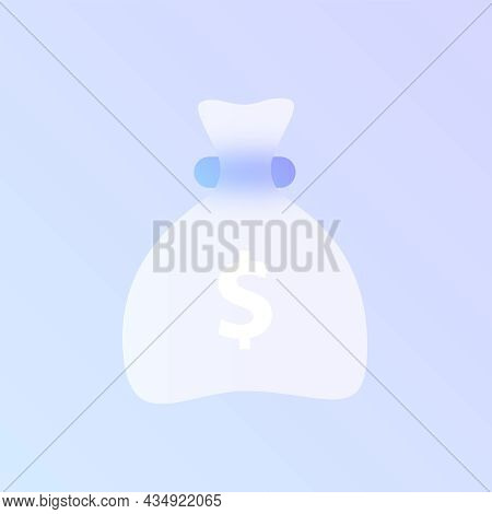Money Bag Glass Morphism Trendy Style Icon. Money Bag Transparent Glass Color Vector Icon With Blur