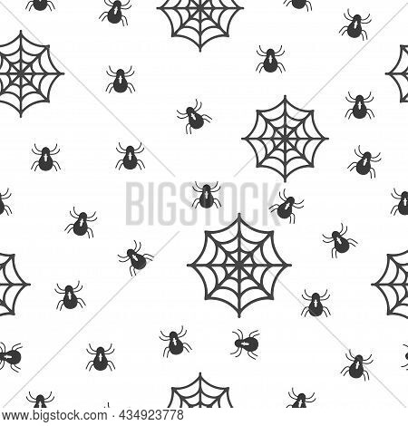Seamless Background With Baby Spiders, Pattern Spiders And Spider Web On White Background Seamless B