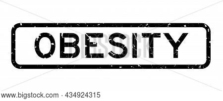 Grunge Black Obesity Word Square Rubber Seal Stamp On White Background