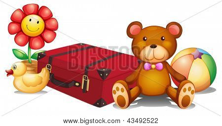 Illustration of a red bag surrounded with toys on a white background