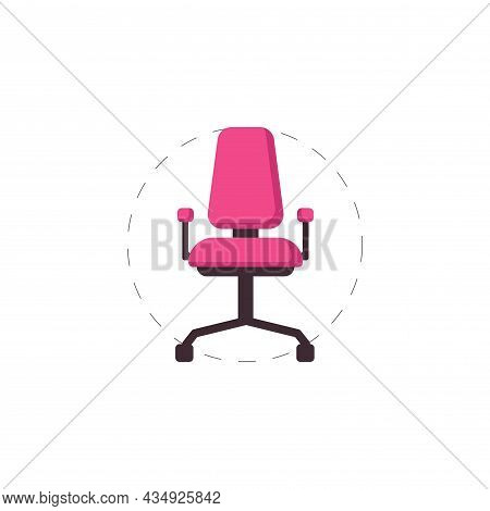 Office Chair Clipart. Office Chair Colorful Flat Vector Icon.
