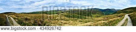 Panoramic Scene On The Black Graded Syfydrin Mountain Biking Trail From The Nant Yr Arian Visitor Ce