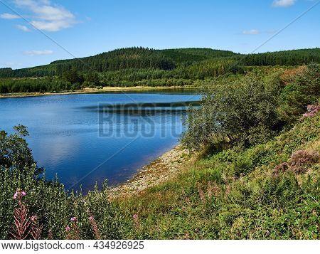 View Of Llyn Blaenmelindwr On The Black Graded Syfydrin Mountain Biking Trail From The Nant Yr Arian