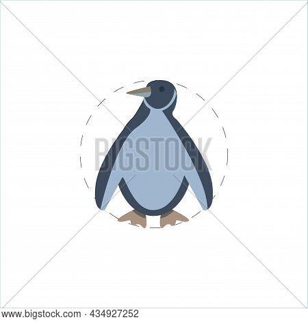 Penguin Clipart. Penguin Colorful Flat Vector Icon.